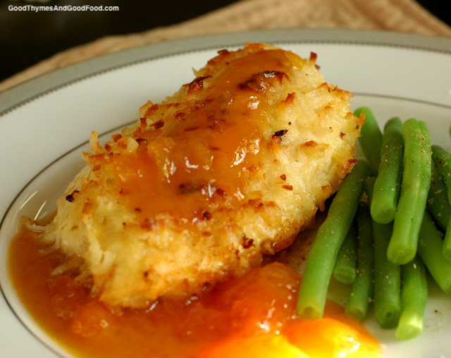 Coconut Chicken with Dijon-Apricot Sauce