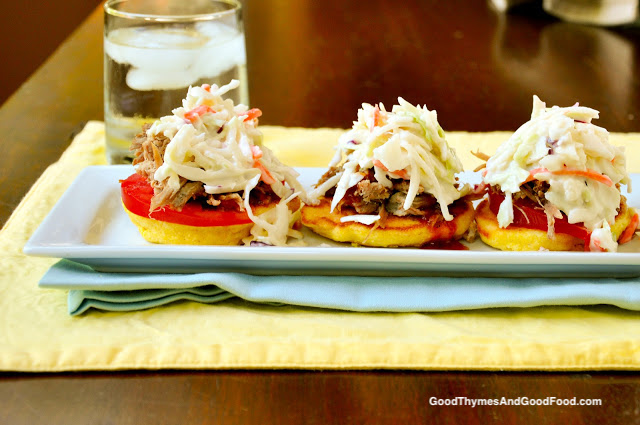 Slow Cooker Pulled Pork with Griddle Corn Cakes